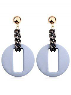 Hollow Our Round Shape Dangle Earrings - Blue Gray
