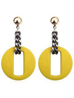 Hollow Our Round Shape Dangle Earrings - Yellow