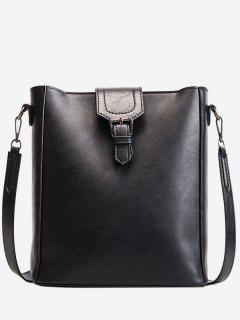 Buckle PU Leather Design Crossbody Bags Set - Black