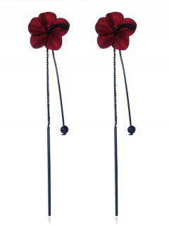 Flower Design Tassel Drop Earrings - Red
