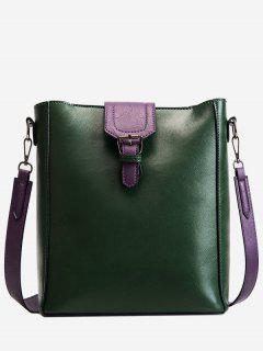 Buckle PU Leather Design Crossbody Bags Set - Deep Green