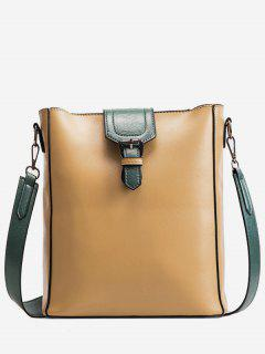 Buckle PU Leather Design Crossbody Bags Set - Golden Brown