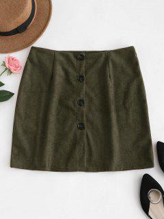 Button Down Suede Skirt - Army Green L