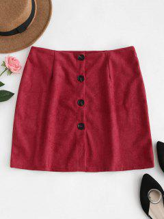 Button Down Suede Skirt - Red Wine M