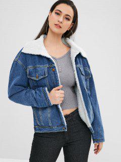 Winter Faux Fur Lined Denim Jacket - Blue L