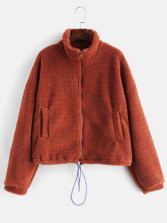 ZAFUL Manteau D'hiver Moelleux à La Taille Avec Cordon De Serrage - Chocolat L