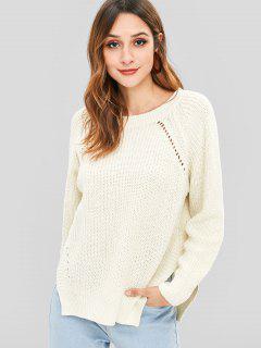 Side Slit Raglan Sleeve Jumper Sweater - White M