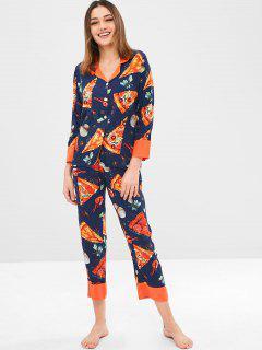 Ensemble De Pyjama Chemise Pizza Imprimé Et Pantalon - Bleu Cadette L