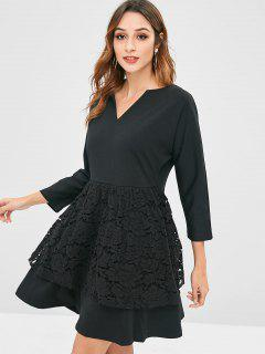 Lace Overlay A Line Dress - Black S