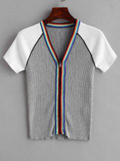 Striped Contrast Zip Front Cardigan - Gray M