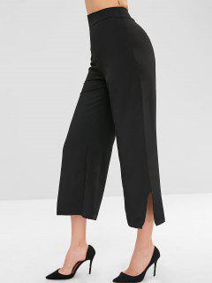 Split Hem Wide Leg High Waisted Pants - Black M