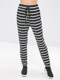 Striped Elastic Waist Pencil Pants - Black Xl