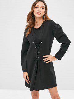 Puff Long Sleeve Lace Up Corset Dress - Black L