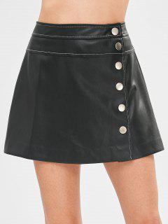 Botón A Través De Falda De Cuero De Imitación - Negro M