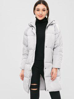 Hooded Quilted Puffer Winter Coat - Gray Goose L