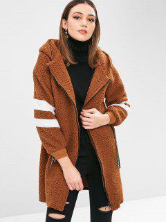 Fluffy Zip Up Faux Shearling Longline Coat - Dark Goldenrod Xl