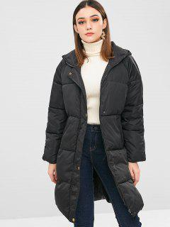 Hooded Quilted Puffer Winter Coat - Black Xl
