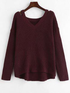 Cut Out Plain High Low Pullover - Roter Wein