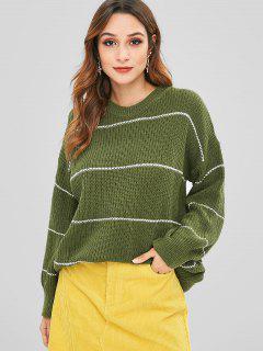 Stripe Knit Oversized Sweater - Army Green