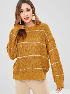Suéter De Gran Tamaño De Rayas De Punto - Sandy Brown