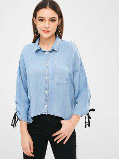 Tie Sleeve Oversized Chambray Shirt - Denim Blue S