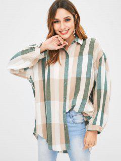 Camisa A Rayas Alta Baja Suelta - Multicolor