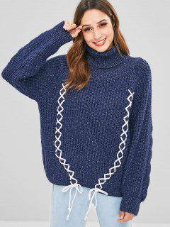 Rollkragen Lace Up Chunky Sweater - Dunkel Blau