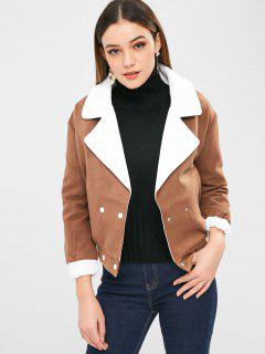 Color Block Double Breasted Jacket - Light Brown M