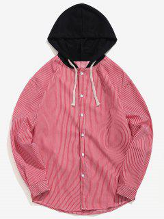 Casual Striped Hooded Shirt - Red S