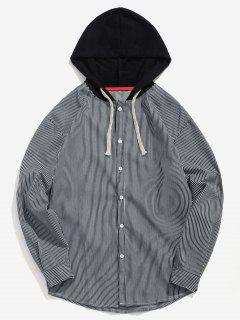 Casual Striped Hooded Shirt - Black M