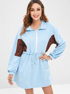 Colorblock Half Zip Sweatshirt Kleid - Blau
