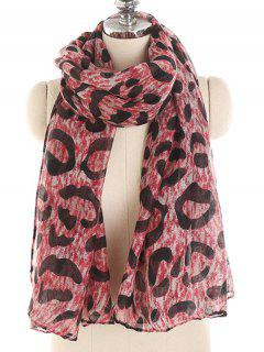 Leopard Pattern Voile Long Scarf - Valentine Red