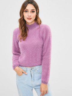 Flauschiger Pullover Mit Hohem Kragen - Mauve