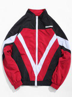 Zip Fly Stand Collar Hip Hop Jacket - Red M