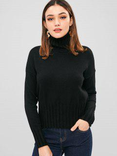 Drop Shoulder High Neck Strickwaren - Schwarz