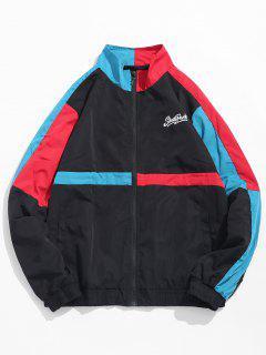 Stand Collar Color Block Lightweight Jacket - Black Xl