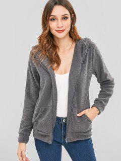 Fluffy Zip Up Hoodie - Dark Gray L
