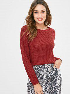 Chandail Pull-over Epais à Manches Raglan - Rouge Vineux