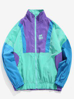 Color Block Patchwork Letter Windbreaker Jacket - Macaw Blue Green Xl