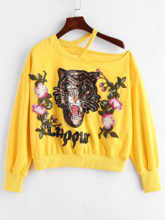 Sequins Applique Tiger Slit Sweatshirt - Yellow M