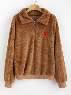 Heart Applique Half Zip Fluffy Sweatshirt - Light Brown L