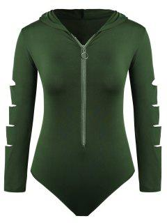 Plus Size Cut Out Hooded Bodysuit - Army Green 2x