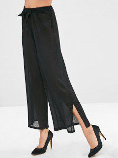 Cintura Anudada Pantalones Anchos De Pierna - Negro Xl