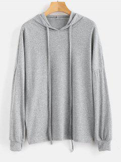 Drop Schulter Solid Color Hoodie - Graue Wolke L