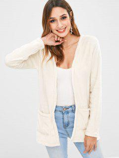 Open Front Pockets Fuzzy Coat - Beige S
