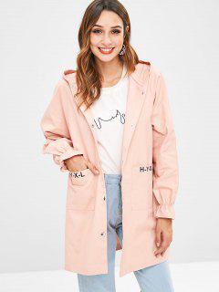 Raglan Sleeve Hooded Straight Coat - Pink L