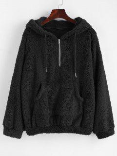 Half Zip Kangaroo Pocket Fluffy Hoodie - Black L