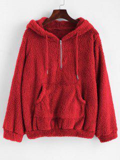 Half Zip Kangaroo Pocket Fluffy Hoodie - Red S