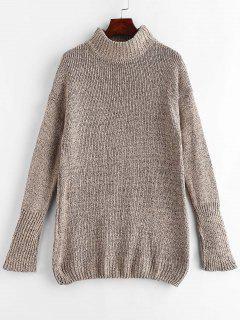 Vestido De Suéter De Cambio De Cuello Mock - Tan