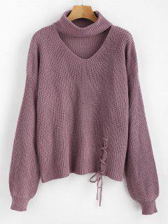 Lace Up Plain Keyhole Sweater - Wisteria Purple